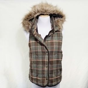 BB Dakota plaid fur hood vest brown aqua orange M